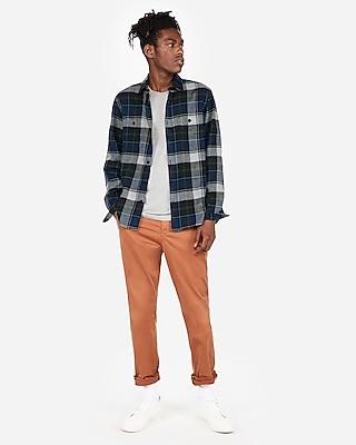 Express Mens Slim Plaid Flannel Shirt