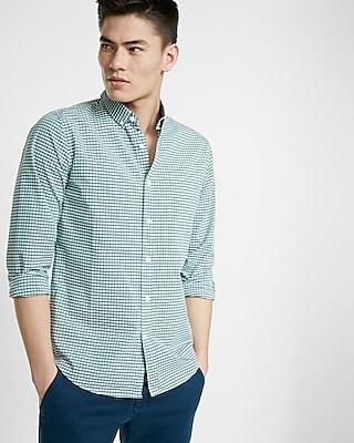 Express Mens Soft Wash Check Cotton Button Collar Shirt