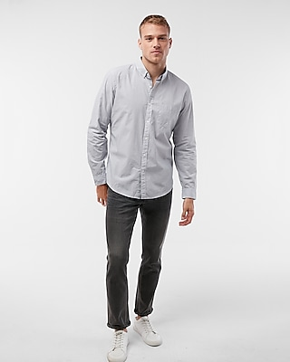 Express Mens Soft Wash Pinstripe Button Collar Cotton Shirt
