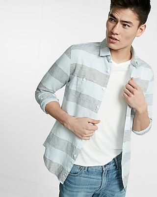 Express Mens Soft Wash Stripe Linen-Blend Shirt