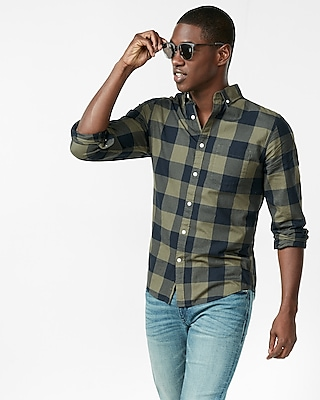 Express Mens Soft Wash Cotton Check Button Collar Shirt