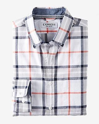 Express Mens Soft Wash Plaid Button Collar Shirt