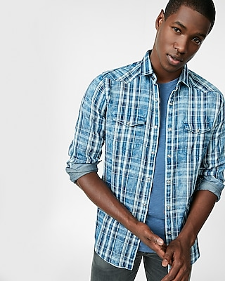 Express Mens Plaid Western Cotton Shirt