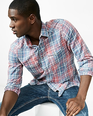 Express Mens Plaid Western Shirt