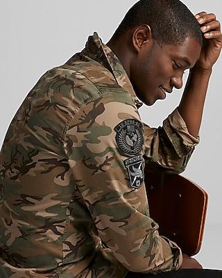 Express Mens Camo Patch Embellished Shirt Jacket 01762777