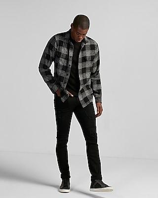 Express Mens Plaid Cotton Shirt Jacket Flannel