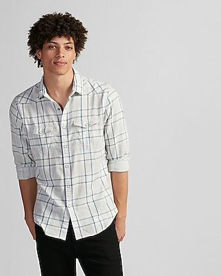 Express Mens Slim Plaid Double Weave Western Shirt