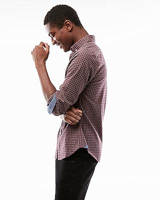 Express Mens Soft Wash Check Button Collar Shirt