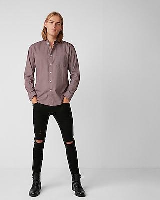 Express Mens Classic Fit Soft Wash Print Cotton Shirt