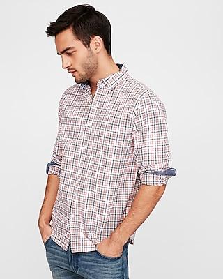 Express Mens Classic Soft Wash Plaid Shirt
