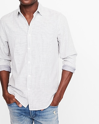 Express Mens Soft Wash Striped Double Weave Shirt
