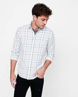 Express Mens Soft Wash Plaid Double Weave Button Down Shirt