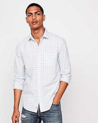 Express Mens Slim Soft Wash Plaid Shirt