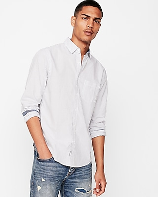 Express Mens Classic Soft Wash Striped Button Collar Shirt