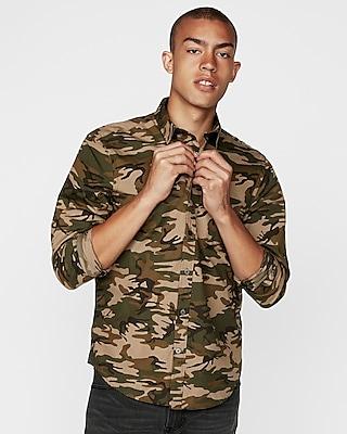 Express Mens Slim Camo Long Sleeve Button-Down Shirt