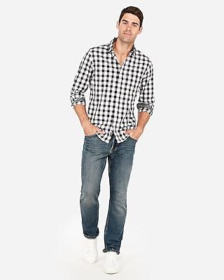 Express Mens Slim Plaid Soft Wash Button Collar Shirt Black Men's Xs Black Xs