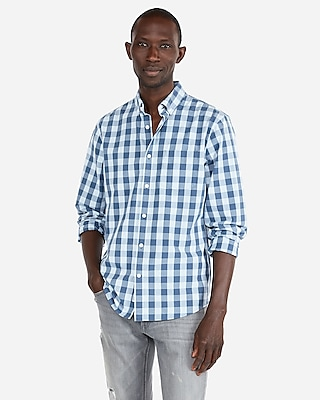 Express Mens Slim Check Soft Wash Long Sleeve Shirt Blue Men's Xs Blue Xs