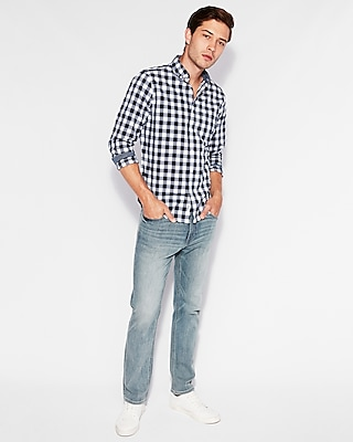 Express Mens Classic Soft Wash Plaid Shirt