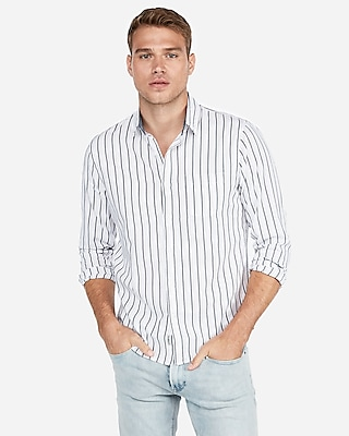 Express Mens Slim Striped Soft Wash Shirt