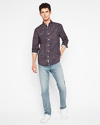 Express Mens Classic Soft Wash Geo Print Shirt