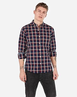 Express Mens Classic Plaid Soft Wash Shirt