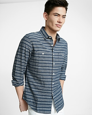 Express Mens Linen-Blend Stripe Long-Sleeve Shirt