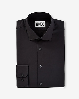 Express Mens Fitted 1Mx Shirt Black S Tall