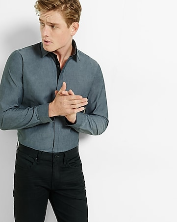 fitted solid piped dress shirt