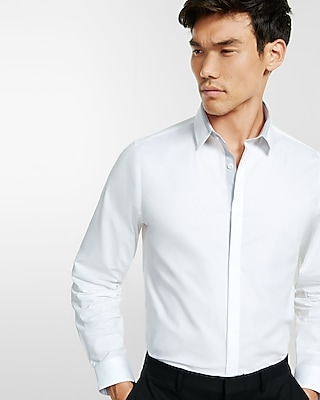 Express Mens Fitted Solid Piped Dress Shirt