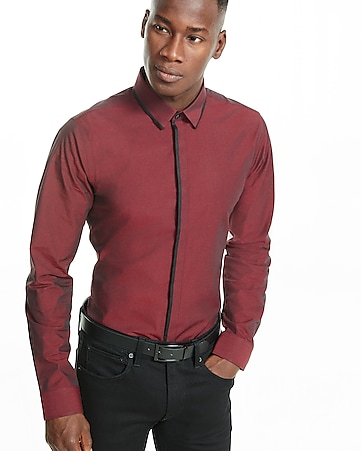 slim solid piped dress shirt