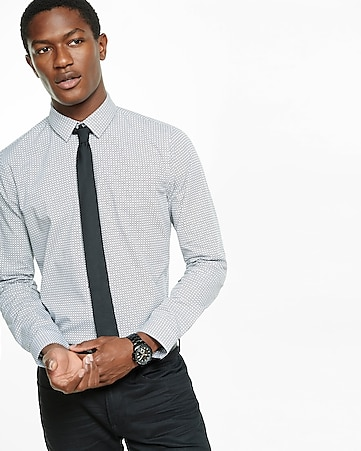 fitted geo print dress shirt