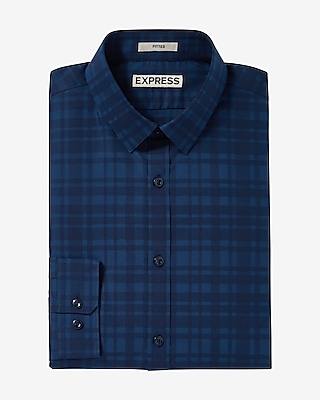 Express Mens Fitted Plaid Dress Shirt
