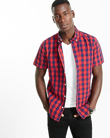 soft wash buffalo check short sleeve shirt