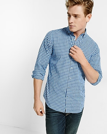 fitted express tech easy care small check shirt
