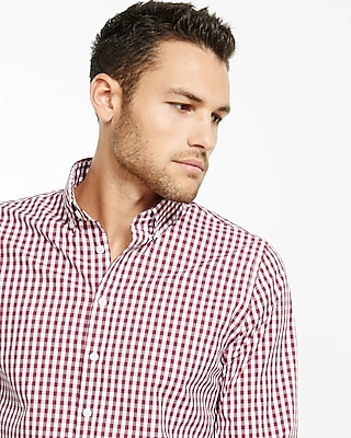 Express Mens Fitted Express Tech Easy Care Small Check Shirt