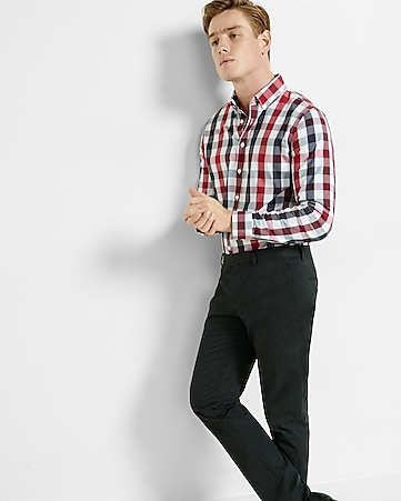 fitted express tech easy care checked shirt