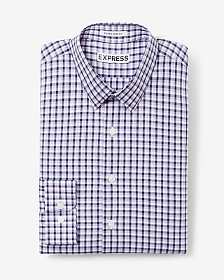 Express Mens Slim Fit Plaid Dress Shirt Purple Small