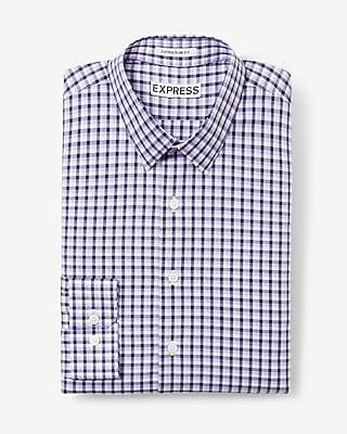 Express Mens Slim Fit Plaid Dress Shirt