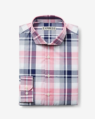 Express Mens Slim Plaid Dress Shirt