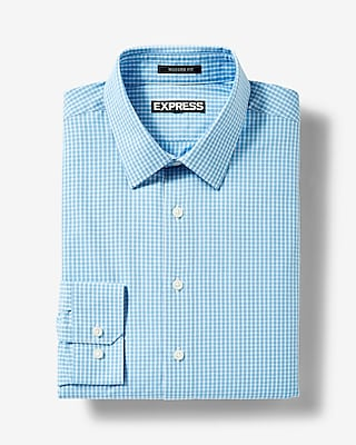 Express Mens Modern Fit Checkered Cotton Dress Shirt