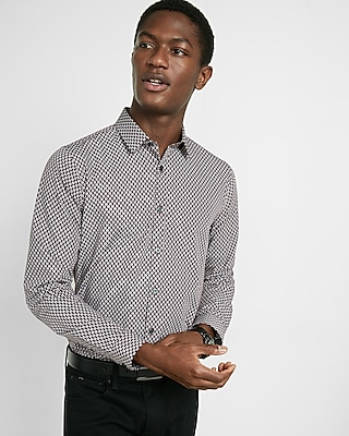 Express Mens Fitted Optical Micro Print Shirt