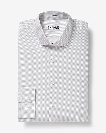 slim fit square print cotton dress shirt