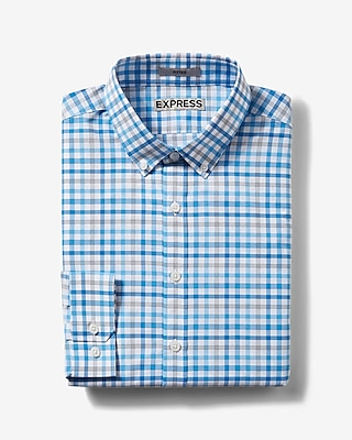 Express Mens Fitted Plaid Easy Care Button Down Collar Dress Shirt