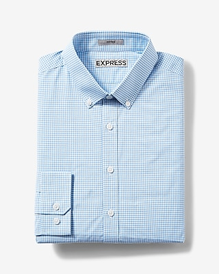 Express Mens Fitted Plaid Easy Care Button-Down Dress Shirt