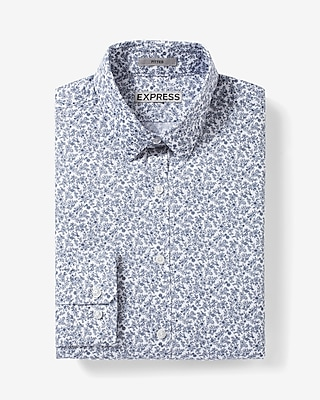 Express Mens Fitted Micro Floral Print Dress Shirt