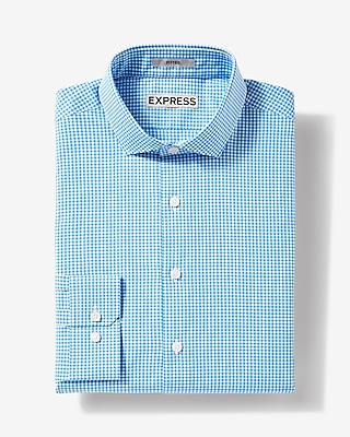 Express Mens Fitted Small Check Dress Shirt