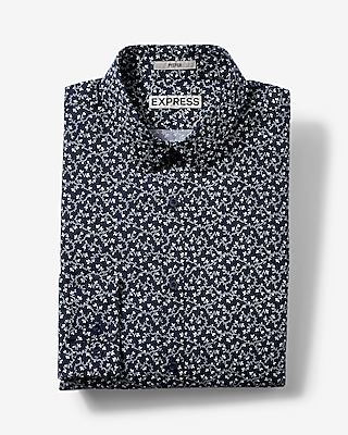 Express Mens Fitted Small Floral Print Dress Shirt