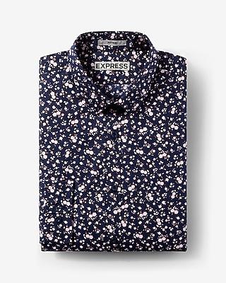 Express Mens Slim Fit Floral Print Long Sleeve Cotton Dress Shirt