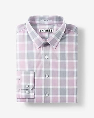 Express Mens Slim Fit Plaid Dress Shirt Purple X Small