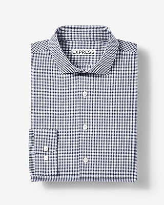 Express Mens Extra Slim Fit Small Check Cotton Dress Shirt Blue Small